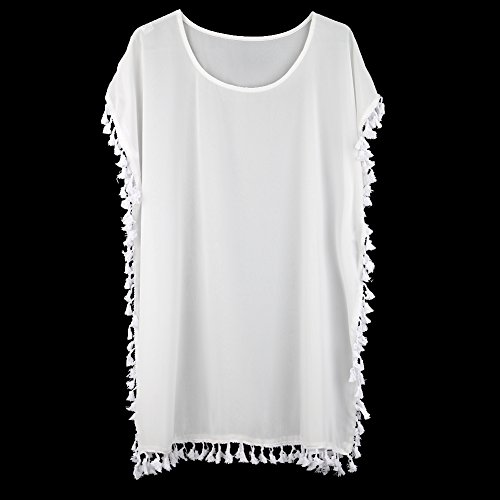 Walant Damen Chiffon Strandkleid mit Quaste Kurzarm Bluse Sommer T-Shirt Bikini Cover Up White
