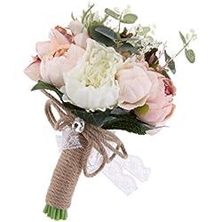 Ramo Novia Artificial - imitación flores reales - tonos blancos y rosas
