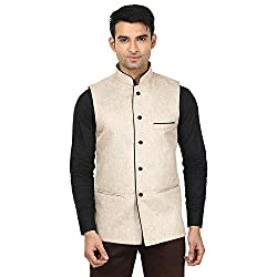 QDesigns Mens Nehru Jacket (WJ_11_Beige & Black_46)