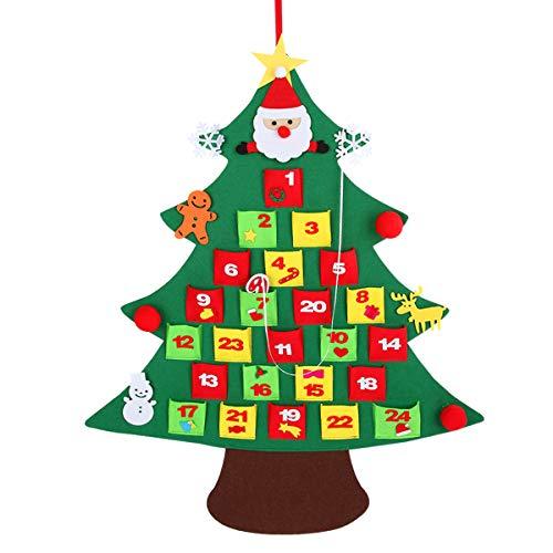 Xunlong calendario dell'avvento di natale albero di natale in feltro conto alla rovescia per la decorazione di natale per i bambini (b)