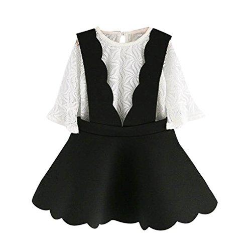 JYJM ❀❀Kleinkind Kinder Baby Mädchen Outfits Kleidung Spitze Tüll T-shirt Tops + Hosenträger Rock Set (Größe: 3 Jahre, Schwarz) (Kleine Mädchen Dress Up Kleidung)