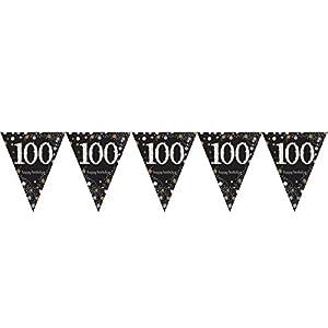 Amscan International-99017324m x 20cm oro celebración 100º plástico banderín banderines