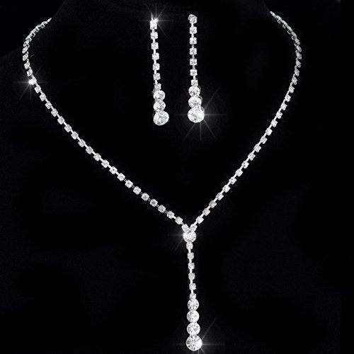 Klassisches Damen-Schmuckset mit Halskette und Ohrringen mit Strasssteinen