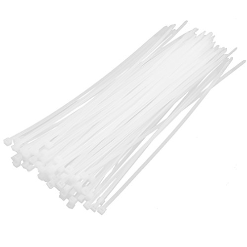 sourcing map 100pc 5x250mm Nylon Blanc Plastique Ruban Attache câble Attache Auto