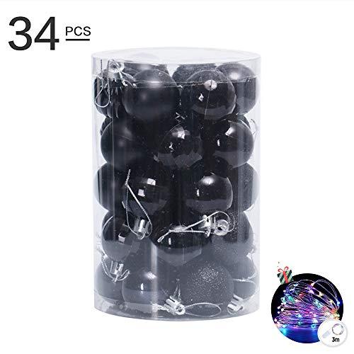 34 pezzi palline per albero di natale 4cm, morbuy palle di natale in plastica scatola porta applique ornamenti festa decorazioni natalizie albero palle per matrimoni (nero)