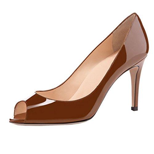 elashe Damen Peeptoe Pumps   8cm Stiletto High Heel   Bequeme Lack Stilettos Braun EU39
