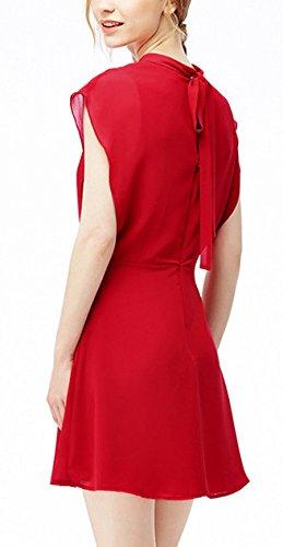 Chiffonkleid Damen Ärmellos Kurz A Linie Sommerkleider Elegant Festlich Vintage Luftig Hochzeit Kleider Rot
