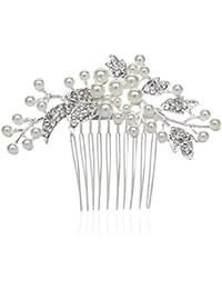 AWEI Bijoux Epingle à Cheveux en Forme de Feuille pour Marriage /Soirée /Anniversaire, Peigne Cheveux Mariage en Perle et Strass