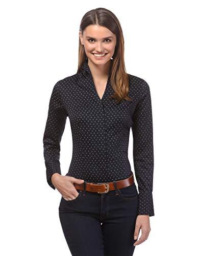 Vincenzo Boretti Damen Bluse mit Kelchkragen leicht tailliert 100% Baumwolle bügelleicht Langarm Hemdbluse mit Stehkragen elegant festlich auch für Business schwarz/grau 36 - Rüschen-kragen-shirt