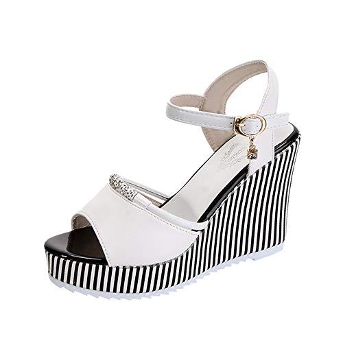 TianWlio Sandalen Damen Mode Fisch Mund Strass Plattform High Heels Sandalen Buckle Slope Sandalen Weiß 38 -