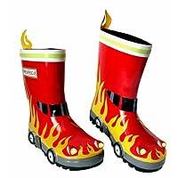 3-D Natural Rubber Wellington Boots-Fire Engine-Children