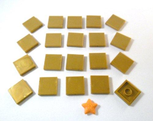 Lego city pezzi piastrelle con bottoncino in oro