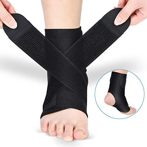 Doact Fußbandage Sprunggelenkbandage Fußgelenkstütze Knöchelschutz mit PE Board Stärke stabilisieren und Klettverschluss Fußgelenkbandage für Männer und Frauen Knöchelverstauchung Arthritis