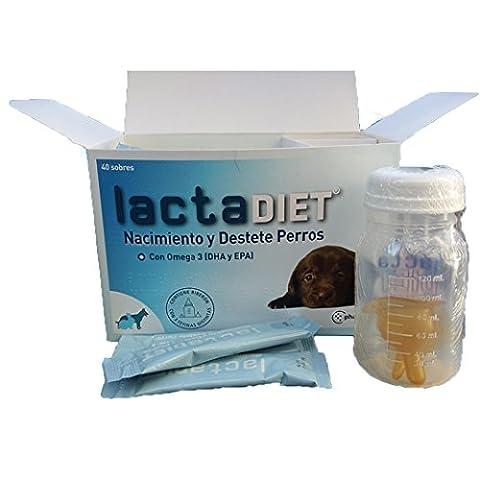 Lait Maternel pour chiots - Lactadiet naissance et sevrage Lait artificiel pour chiens, avec oméga 3 DHA et EPA) - 40 enveloppes + Biberon avec 3 tétines différentes