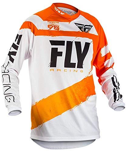 Erwachsene motocross mtb Trikot - Orange/weiß - Orangefarben/weiß, L ()