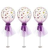 Vi.yo. Ballons 3Pcs Latex Balloon Mesh Satin Bow décoration pour la fête d'anniversaire / fête / Noël / Mariages et fêtes (40 + 40CM) Violet