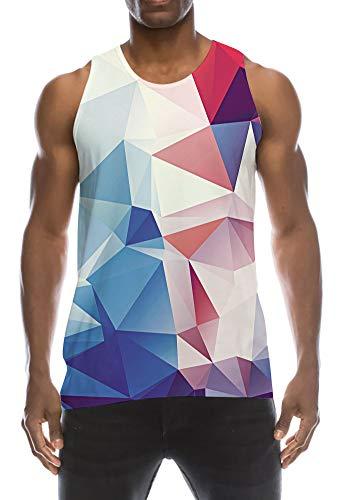 TUONROAD Tanktop Herren Lustig 3D Grafik Drucken Geometrisch Tank Top Blau Ärmellos Sommer T-Shirts Leicht Muskelshirts Gym Fitness Bodybuilding Tankshirt Lässig Unterhemden Männer Jungen - S - Lässiges Herren T-shirt