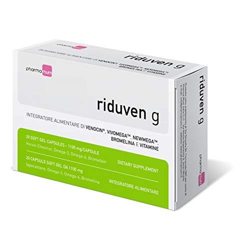 Pharma Mum Italia Riduven g - 20 capsule soft gel - integratore alimentare - benessere del microcircolo, drenaggio dei liquidi, proprietà antiossidanti, azione antiedemigena