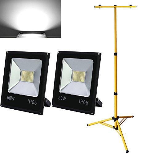 Hengda® 2X 50W Kaltweiß Außen LED Fluter Scheinwerfer mit Stabiles Höhenverstellbar Dopel Stativ Teleskop Ständer IP65
