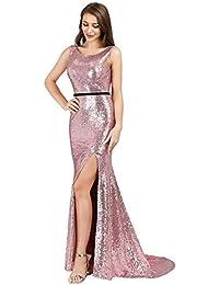 7b0fb477768b Ever-Pretty Vestito da Sera Paillettes Lungo Donna Spacco Alto Senza  Schienale 07932