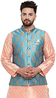 NEUDIS by Dhrohar Jacquard Silk Blend Nehru Jacket/Waistcoat For Men - Blue