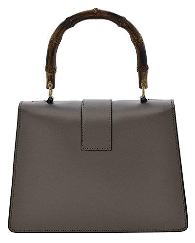 ALESSIA Borsa a Mano Borsa Spalla Vera Pelle Cuoio Donna Moda Made in Italy Marrone-metallico