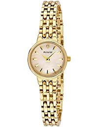 Accurist Women's Quartz Watch with Mother of Pearl Dial Analogue Display and Gold Plated Bracelet Lb1405P