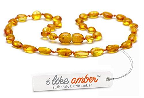 Collana d'ambra DI QUALITÀ SUPERIORE -Super sicuro - La migliore qualità di ambra baltica su Amazon - Misure da 29 a 45 cm - Garanzia di rimborso e di soddisfazione del 100% di 100 GIORNI! / HNY.P31