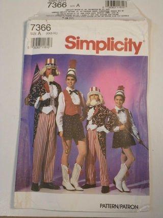 Kostüm Majorettes - Simplicity Schnittmuster 7366Erwachsene Uncle Sam & Drum Majorette Kostüm SZ A (XXS)
