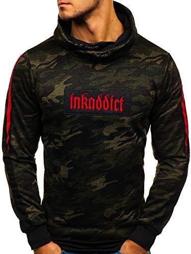 BOLF Herren Sweatshirt ohne Kapuze Pullover mit Aufdruck Pulli Kamin Sport Casual Style RED Fireball HY285 Grün XXL [1A1] | 05902646916811