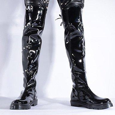 Love & scarpe stivaletti unisex primavera/autunno/inverno moda stivali/stivali da combattimento in pelle partito & sera/casual rivetti nero Black
