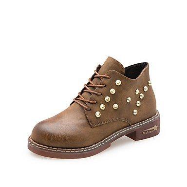 Rtry Zapatos De Mujer Pu Fall Botas De Moda Botas De Tacón Bajo Punta Redonda Con Cordones Para Casual Color Caqui Negro Verde Us8 / Eu39 / Uk6 / Cn39