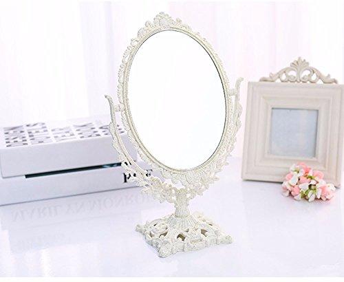 FACAIY doppelseitig spiegeln 2 x Lupen frei stehend einstellbar Spiegel Faser Harz, weiß Plane...