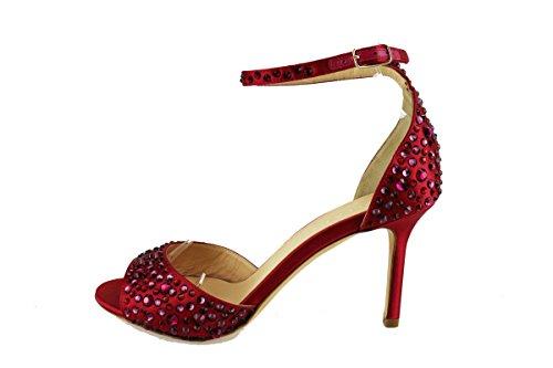 LELLA BALDI sandali donna rosso raso strass AH824 (38 EU)