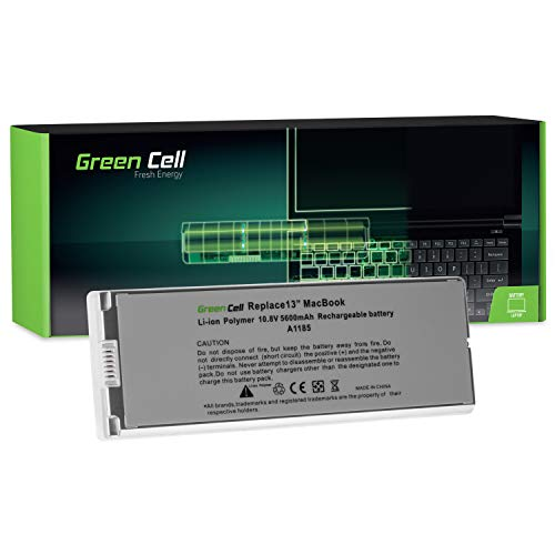 Green Cell® A1185 Laptop Akku für Apple MacBook 13 A1181 2006-2009 (Li-Polymer Zellen 5600mAh 10.8V Silber) (Green Apple-laptop)