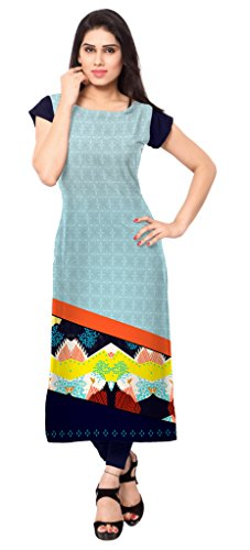 Ziyaa Multicolour Boat Neck Cap Sleeve Faux Crepe Digital Print Kurti  available at amazon for Rs.499
