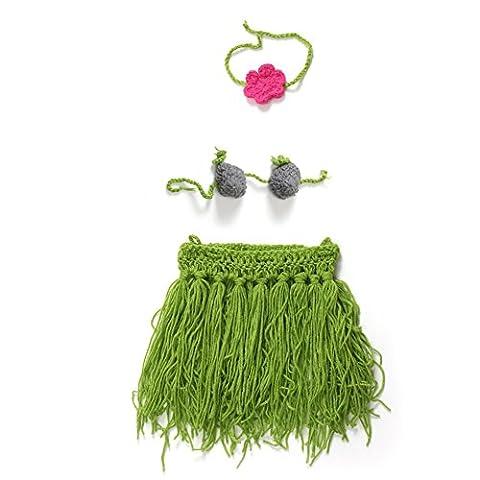 Vogholic Baby Photograhy Costume Knit Hawaii Hula Skirt Bra Headband (Costume World)