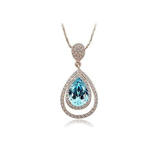 Collier plaqué or rose double cercle goutte bleu cristal swarovski elements
