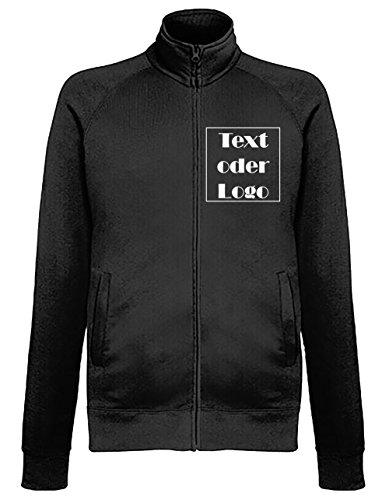 Schwarze Sweatshirt Jacke mit Wunschtext oder Wunschname Sweater selbst gestalten bedrucken lassen Pulli