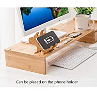 Solid Wooden Monitor Stand With Drawer, Bamboo Wood Storage Organizer Office Desk, Desk Accessories &,Workspace Storage Organizers For Office Desk (Color : Natural)