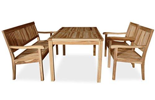 KMH, 4-teilige Teak Sitzgruppe 'LEA' mit 150 cm langem Tisch für 5 Personen (#102215)