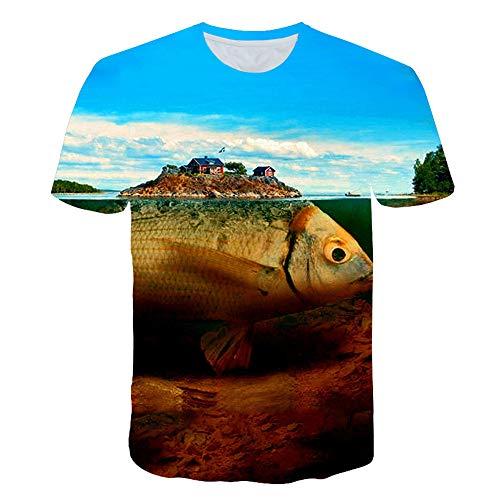 Ywfzzxs T-Shirt 3D Tops Mode-T-Shirts Unterhemden Kurzarm Unisex Neuheit Kostüm HD Anime Druck Riesenfisch