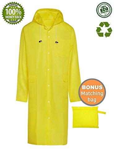 BlinQ Creations Men's Tragbare Regen Poncho Regen Jacke Regenmantel mit Kapuze mit Tunnelzug und Tasche One Size Fits All/Large Gelb