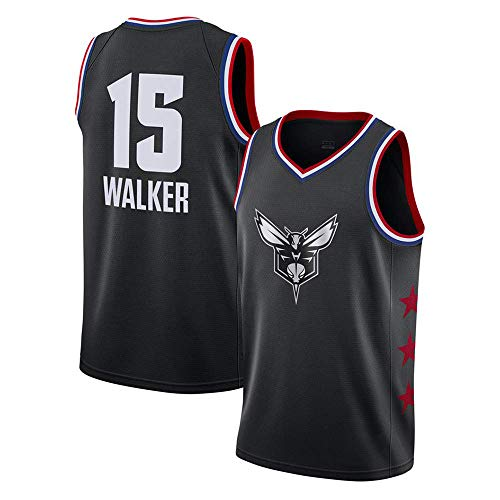 Charlotte Gewebe (Basketball Trikot - NBA Charlotte Hornets 15# Walker Atmungsaktives Gewebe Klassische Ärmellose, Unisex Basketballuniform,Black,L:180cm~75to85kg)