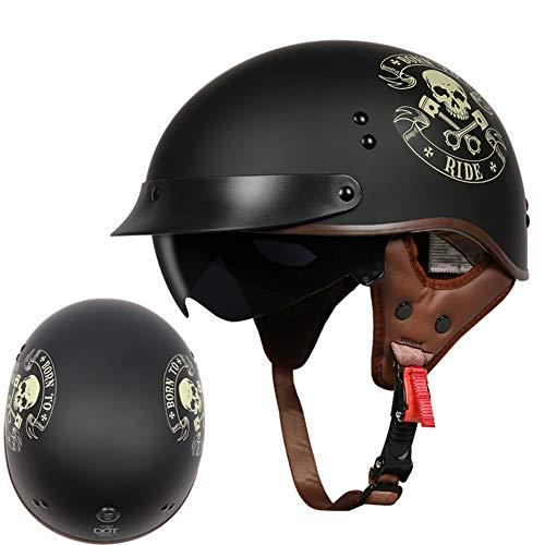 HSKS Schwarz Graffiti Retro Motorrad Helm Männlich Motorrad Halbhelm bedeckt Leichter Helm