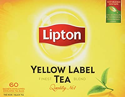 Lipton Thé Noir Yellow Label Tea x60 Sachets 120g - Lot de 4