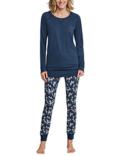 Schiesser Damen Anzug lang Zweiteiliger Schlafanzug, Blau (Blaugrau 808), 46 - Herrliche Gerippte Jersey
