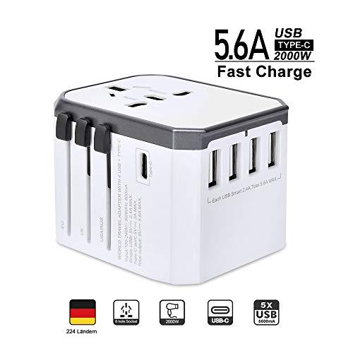 Reiseadapter Reisestecker Weltweit 224+ Ländern 5.6A Fast Charge Universal Travel Adapter mit...