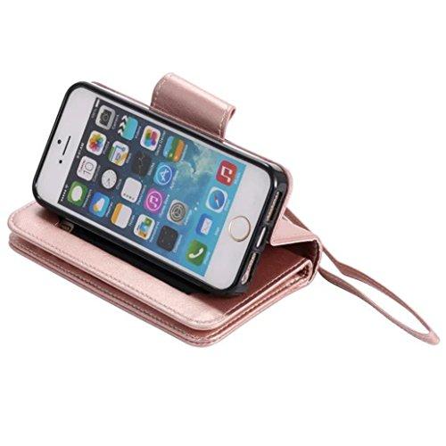 (Sleeping Bear) Coque/Etui Housse pour iPhone 7Plus, exquise elégant Embossed Girl Cat/fille et chat le motif en relief PU Etui en cuir, [avec cordon Strap/corde] (miroir) carte de crédit /comptant sl Or rose