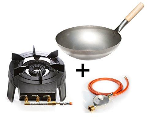 Wokbrenner Set/Gaskocher 9,2 KW mit Gasschlauch + Druckminderer + 33 cm Stahl Asia-Wokpfanne mit Holzgriff (Gusseisen Hockerkocher, Asia Kocher, Gastrokocher, Gasherd, Campingkocher für Wok)